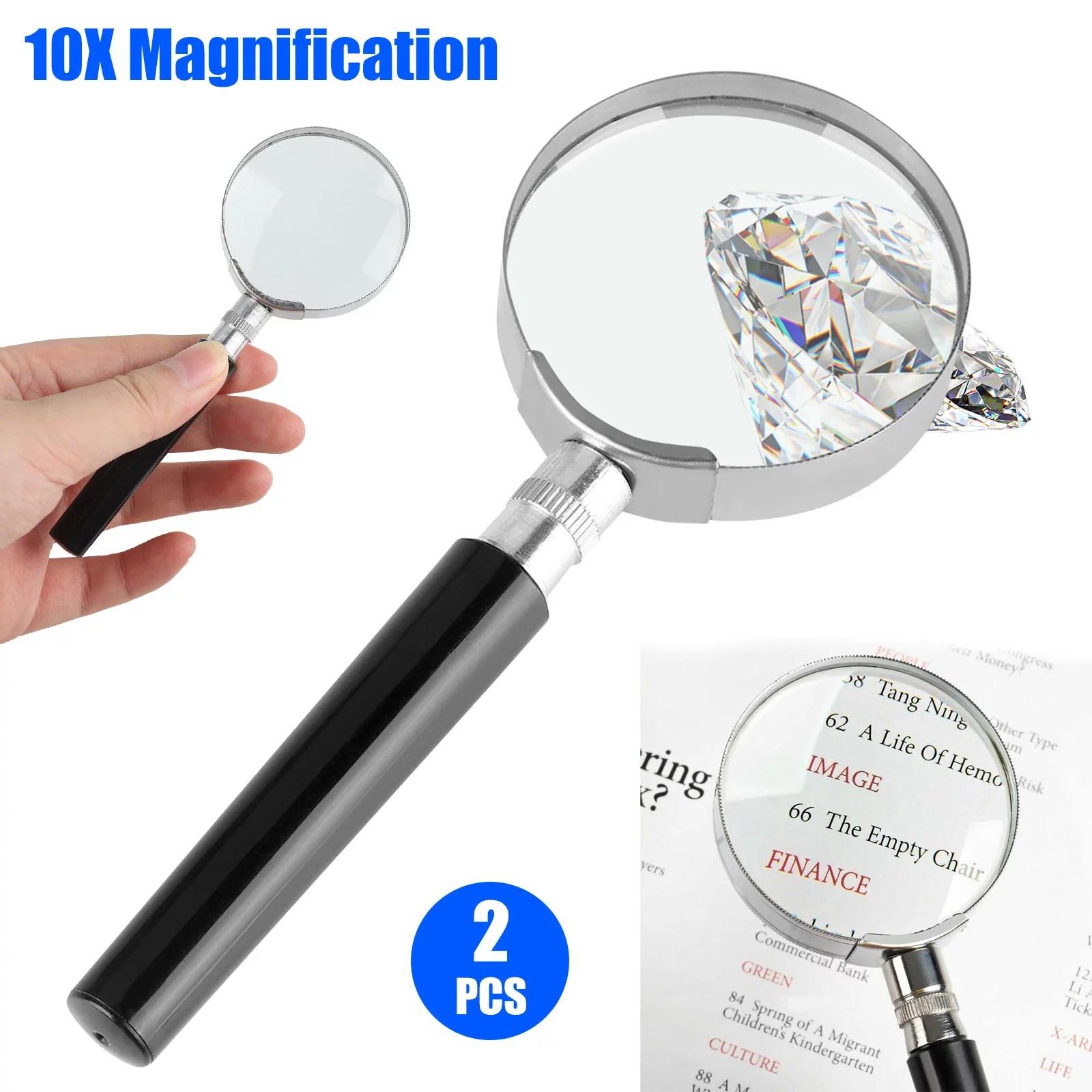 Tsv 2pcs Magnifying Glass 10x Handheld Reading Magnifier