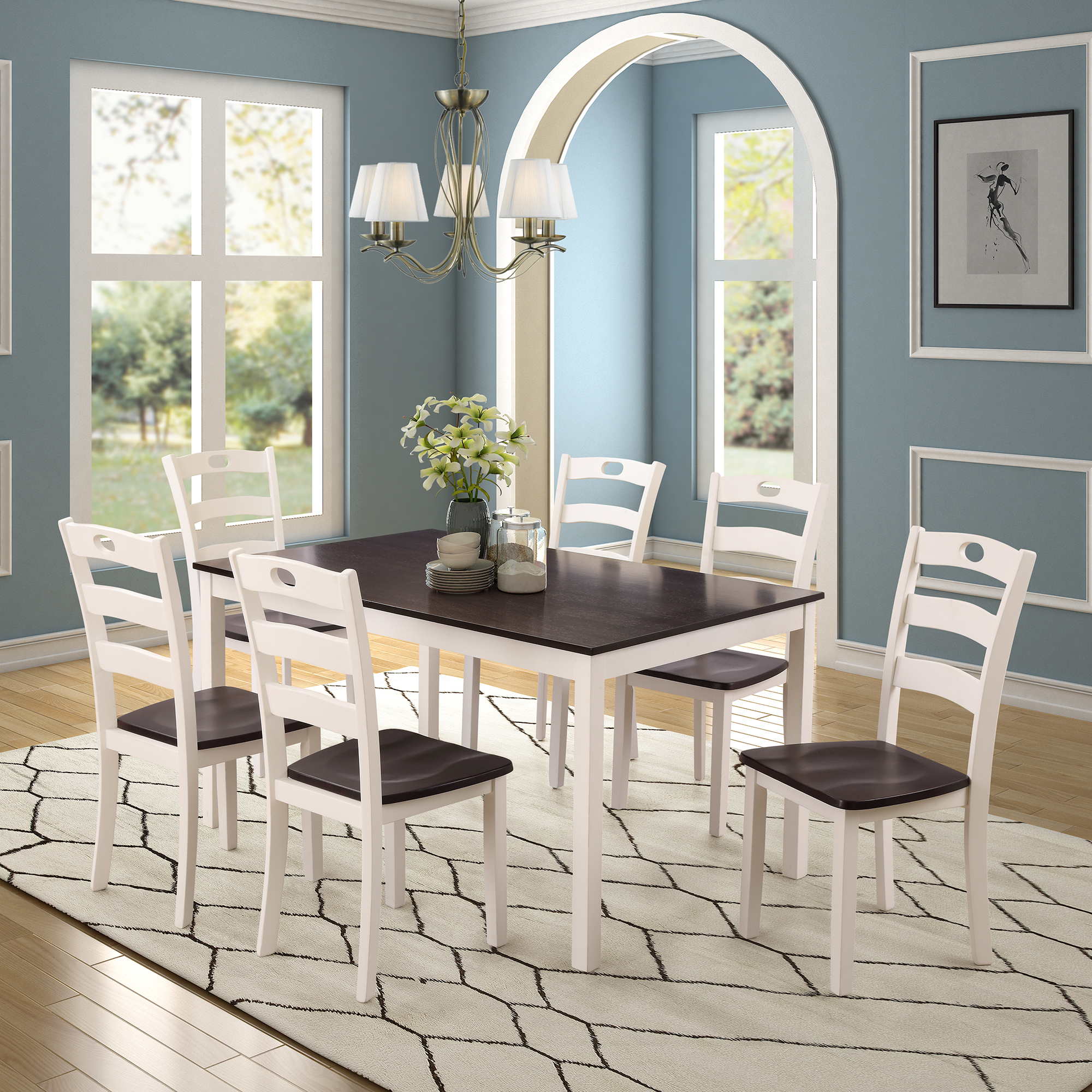 clearance white dining table set for 6 modern 7 piece on dining room sets on clearance id=40042