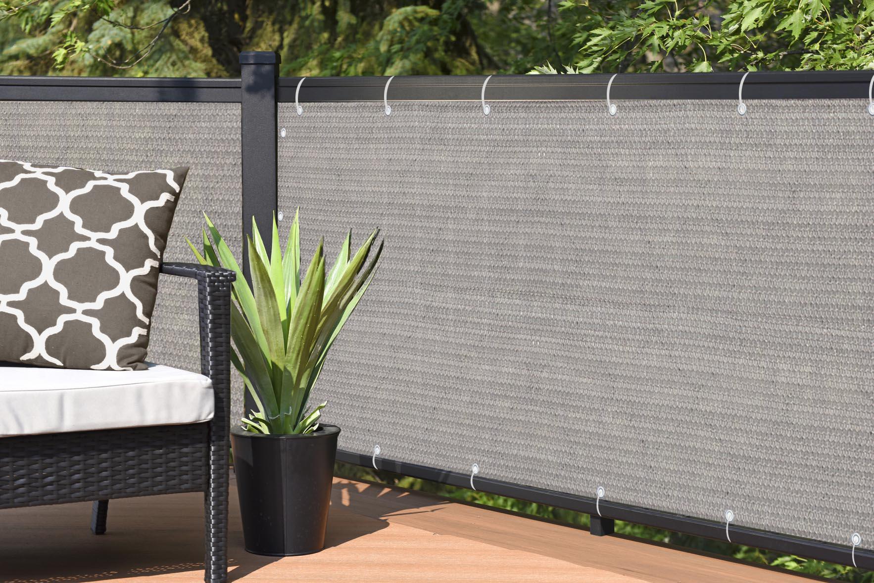 alion home smoke tan elegant privacy screen for backyard deck patio balcony fence pool porch railing no black trim 4 x 14 walmart com walmart com