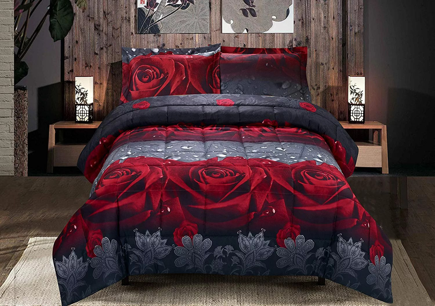 hig 3d comforter set 3 piece 3d rose love romantic moment printed comforter set queen king size y28 box stitched soft breathable