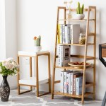 Kwanshop 4 Tier Bamboo Ladder Shelf Bookshelf Bookcase Storage Rack Display Leaning Home Office Decor Walmart Com Walmart Com