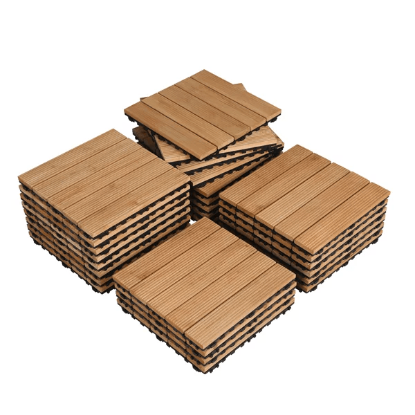 smilemart indoor outdoor wood flooring 12 x 12 tiles for patio garden 27 pieces natural wood