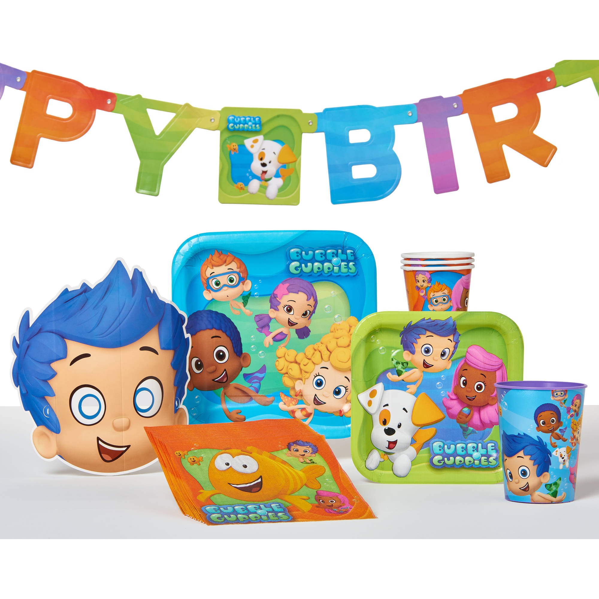 bubble guppies birthday party banner, party supplies - walmart