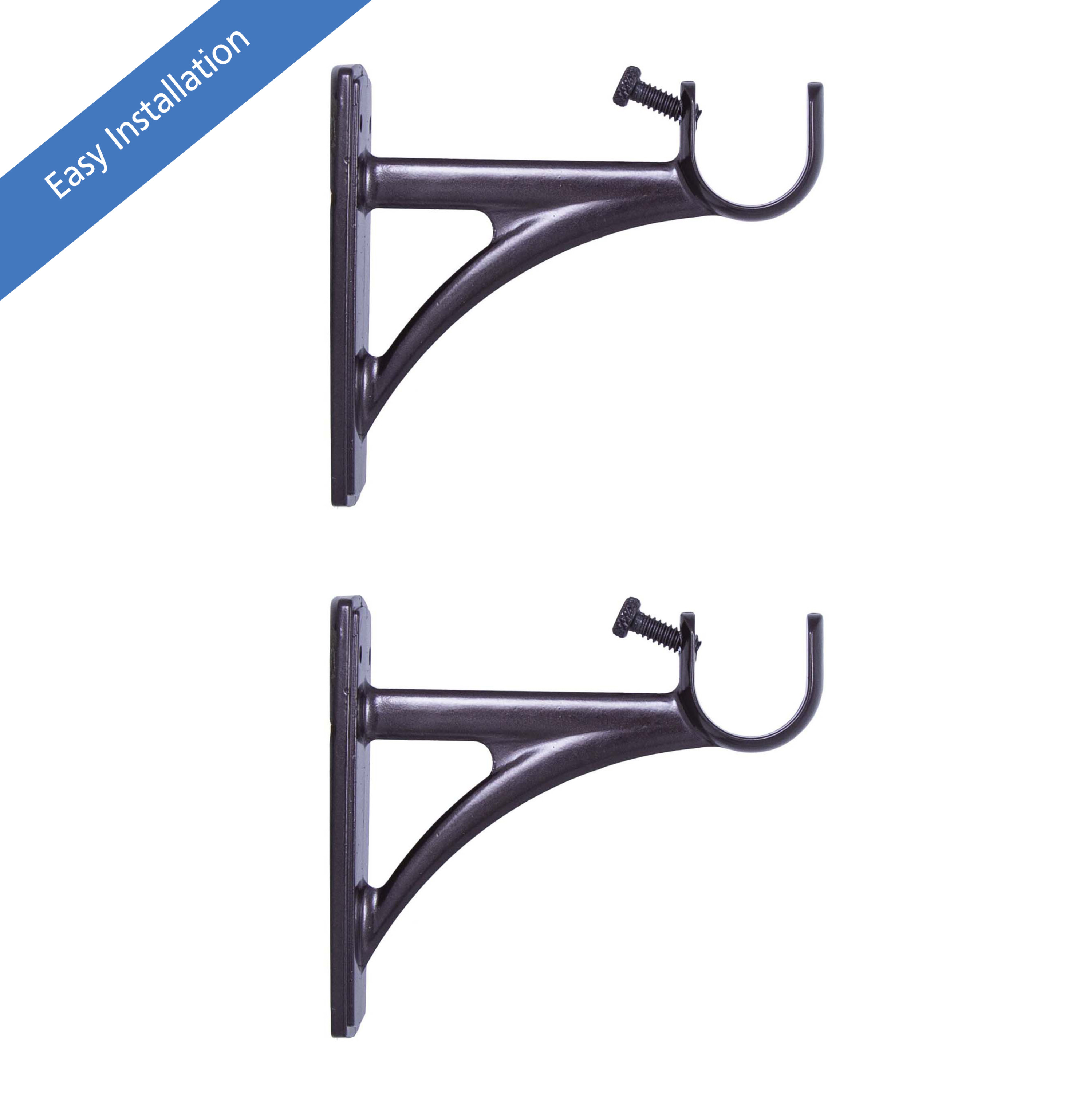 mainstays fast fit easy install single curtain rod brackets 3 4 in to 1 in diameter