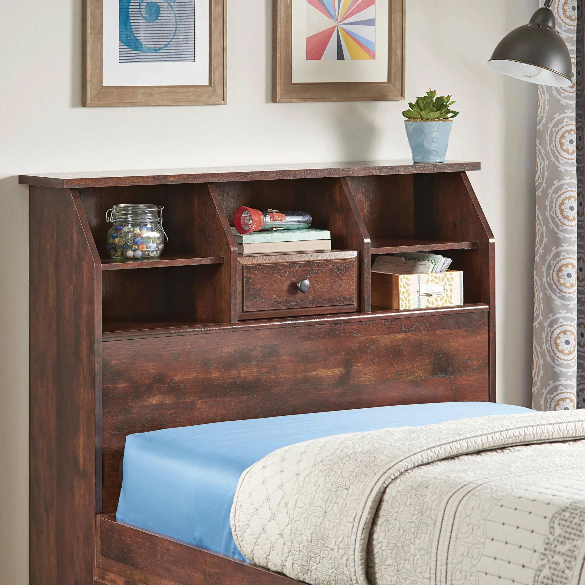 Better Homes Gardens Leighton Twin Bookcase Headboard Rustic Cherry Finish Walmart Com Walmart Com