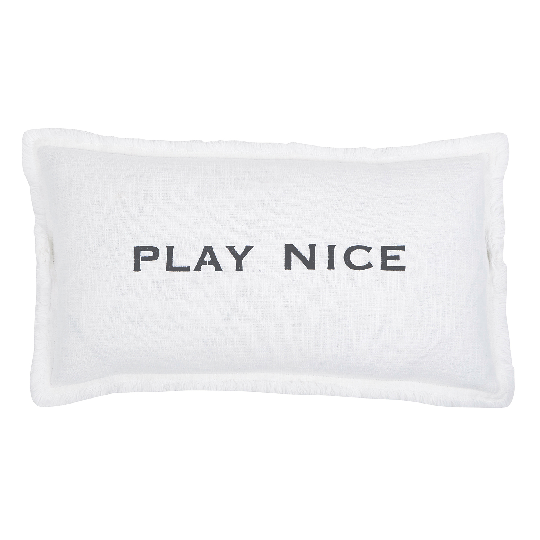 12 x 22 white and black rectangular play nice lumbar f2f pillow with words of wisdom inscription walmart com