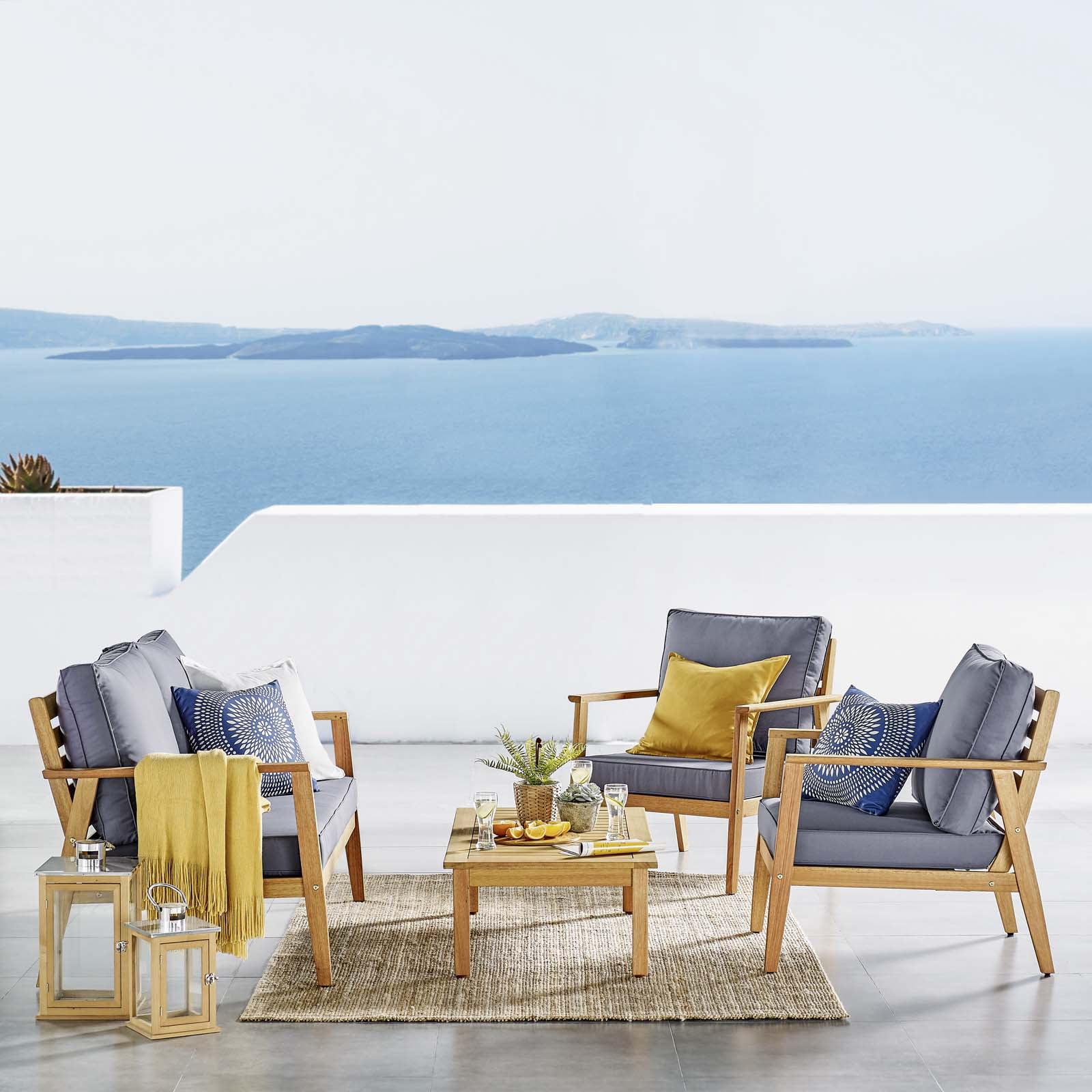 syracuse eucalyptus wood outdoor patio 4 piece furniture set in natural gray