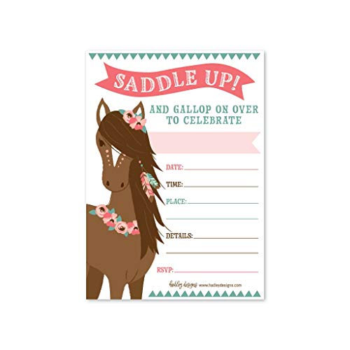 25 pony birthday party invitation horse farm barn little girl invite cowgirl western rodeo spirit kids themed bday supply idea animal modern
