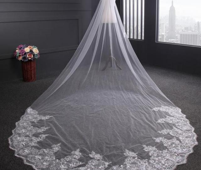 M White Ivory Luxury  Tier Bridal Veil Cathedral Wedding Lace Sequins Long Veil With Comb Walmart Com