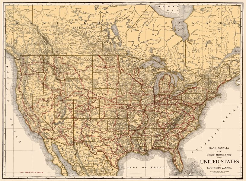Old North America Map   Railroads in United States  Southern Canada     Old North America Map   Railroads in United States  Southern Canada   Rand  McNally 1920
