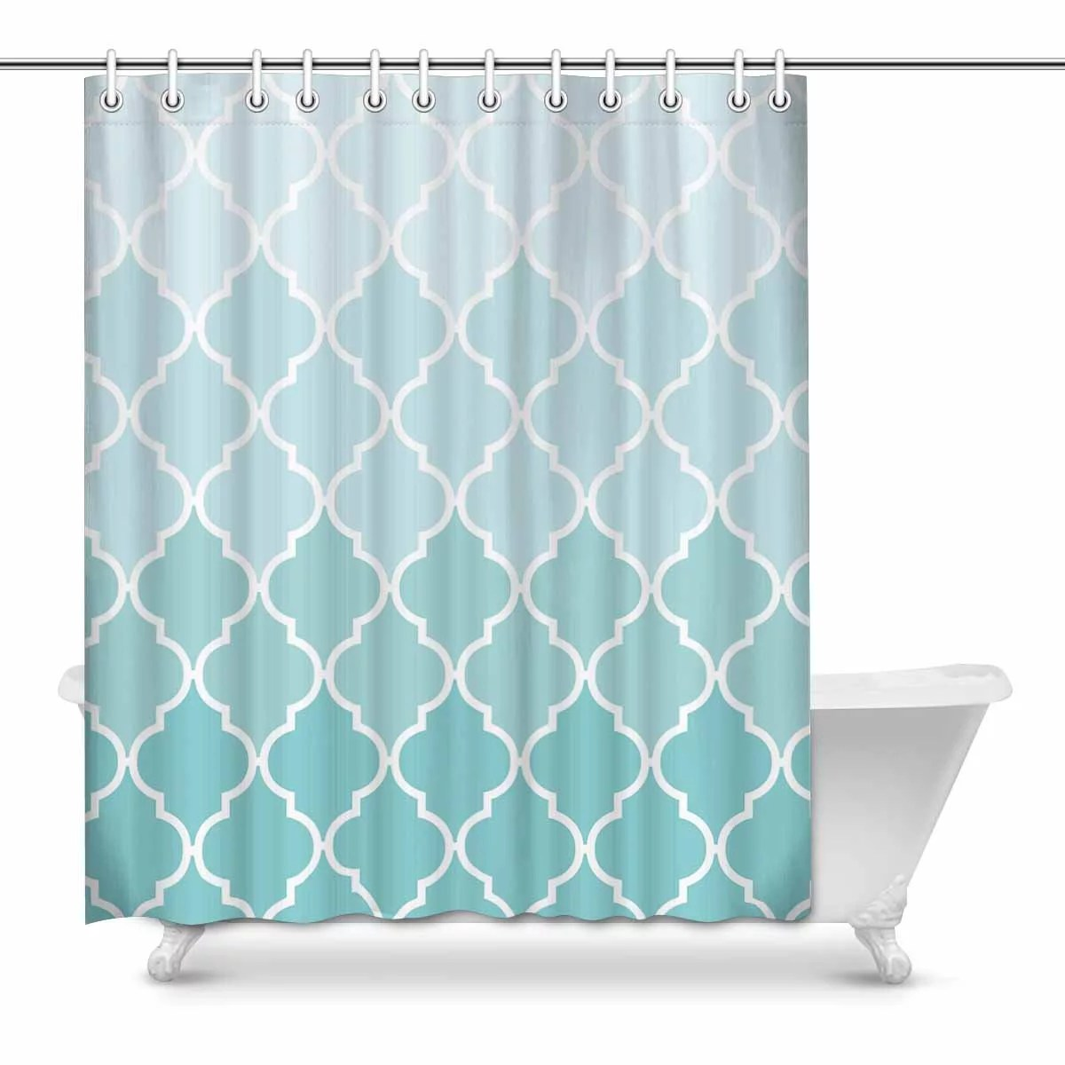 yusdecor moroccan tile quatrefoil aqua teal fade waterproof polyester fabric shower curtain bathroom sets home decor 60x72 inch