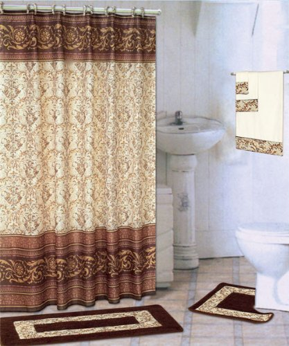 coffee 18 piece bathroom set 2 rugs mats 1 fabric shower curtain 12 fabric covered rings and 3 decorative towels