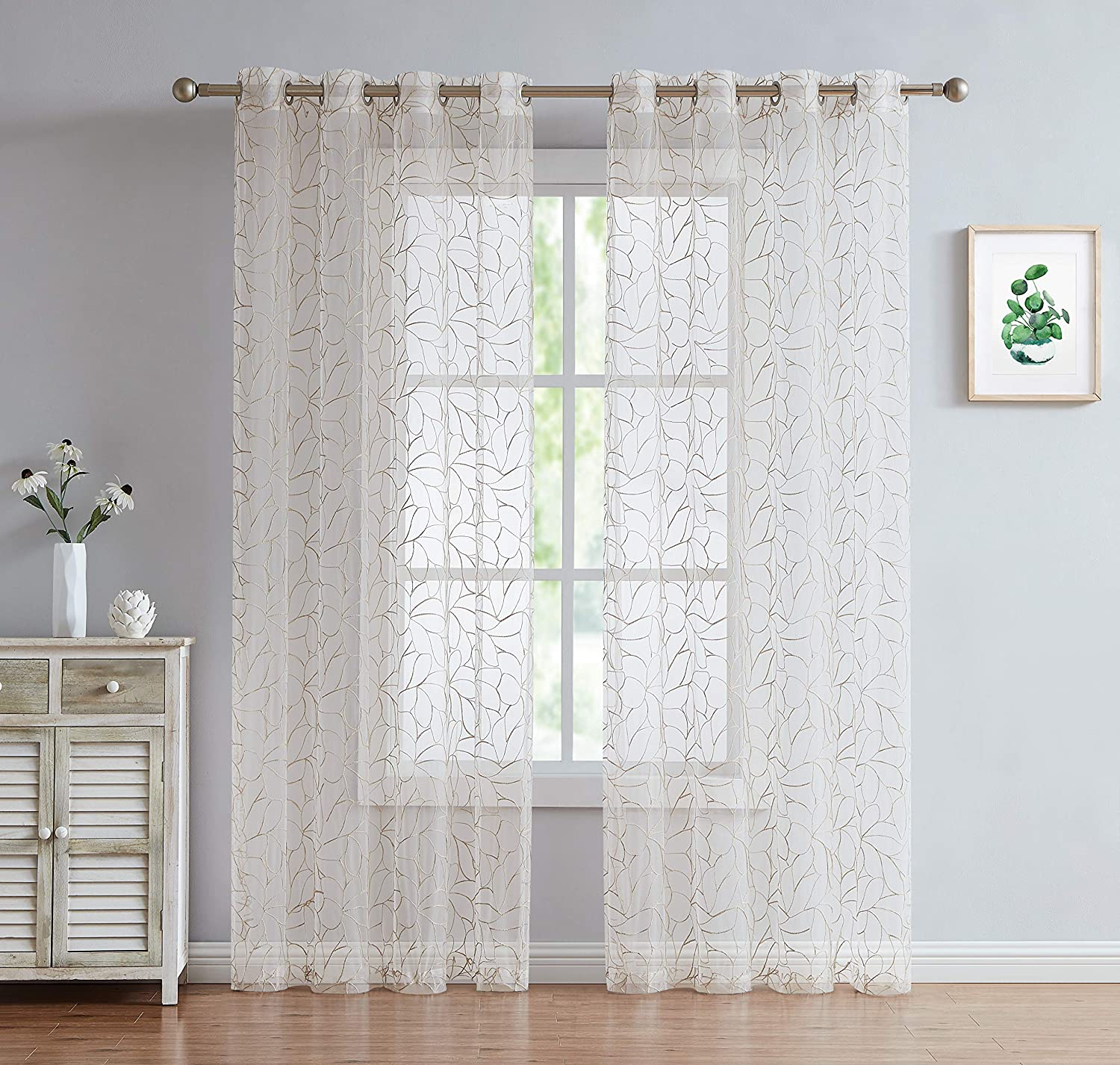 olivia set of two embroidered voile sheer grommet curtain panels for living room bedroom dining rooms 54 w x 84 l linen