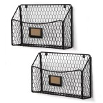 Metal Chicken Wire Magazine Rack 3 Tier Easepres Mail Organizer Wall Mount Hanging File Holder Storage Black Office Products Hanging Wall Files