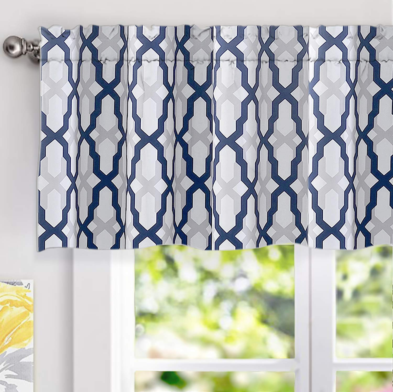 driftaway mason geometric trellis pattern window curtain valance rod pocket 52 x18 2 header navy blue walmart com