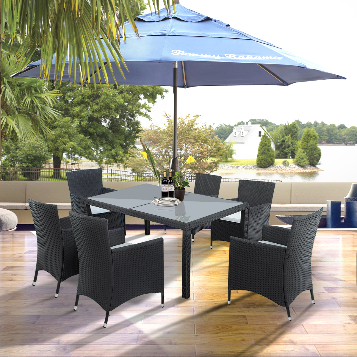 https www walmart com ip 7 piece outdoor patio dining set 6 rattan wicker chairs glass table all weathe rectangle sofa furniture set removable cushions backyard porch garden 480515483