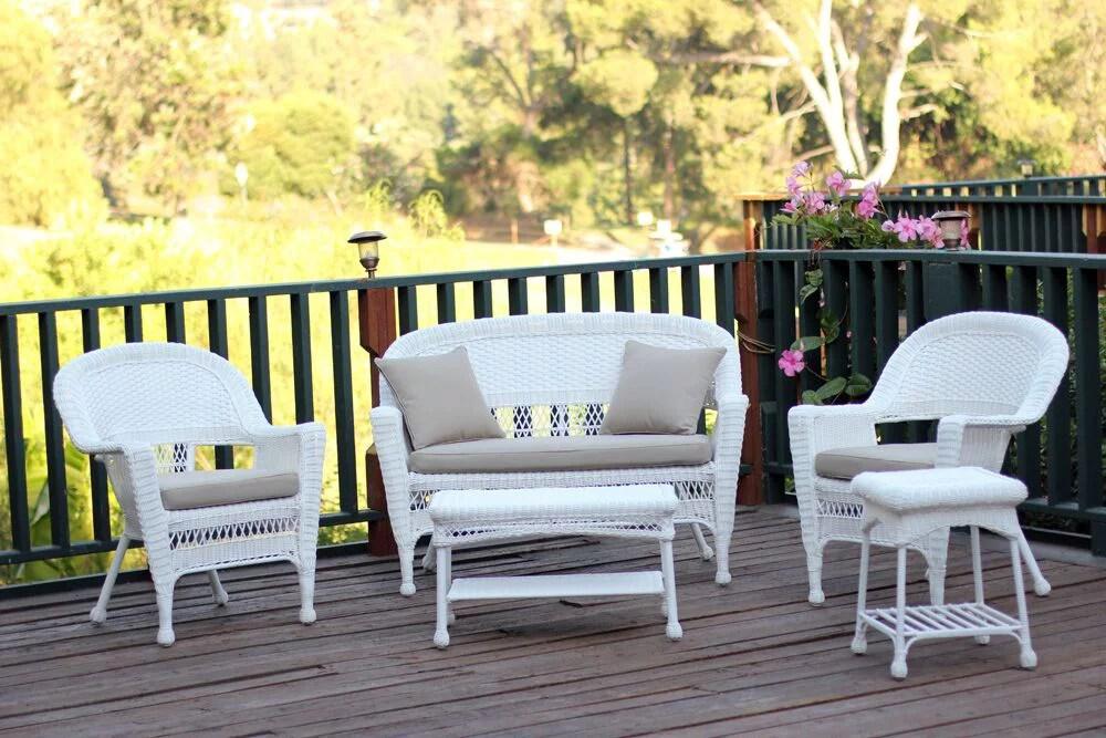 5 piece flynn white wicker patio chair loveseat table furniture set tan cushions