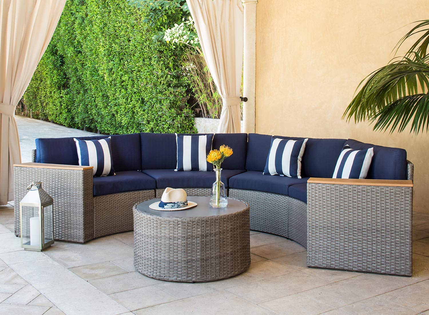 Suncrown Outdoor Half-Moon Crescent Sectional Furniture ... on 5 Piece Sectional Patio Set id=53624