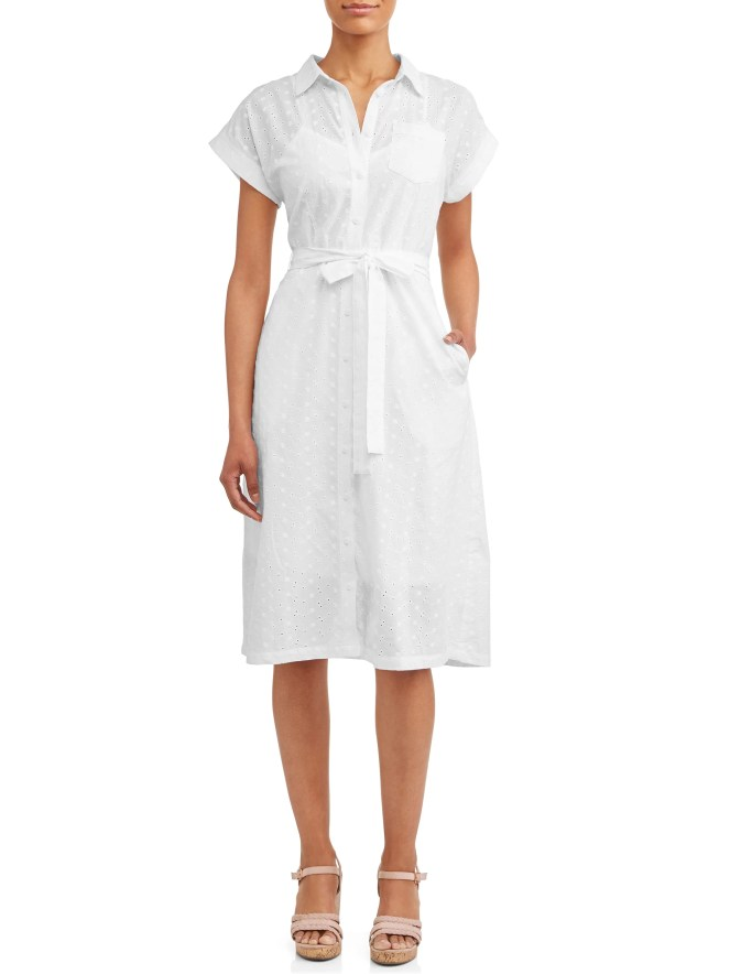 Women's Belted Midi Shirt Dress with Pocket