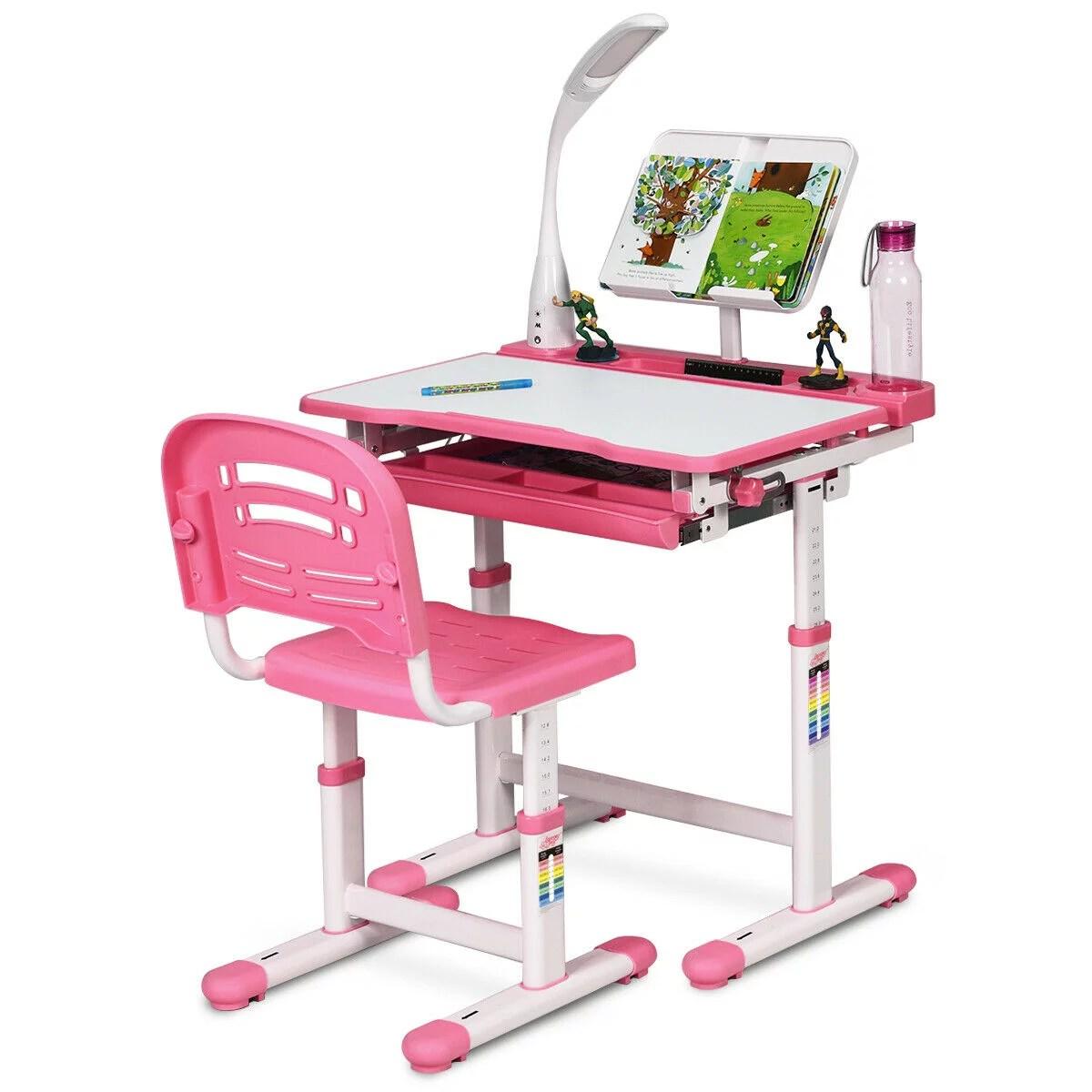 gymax height adjustable kids desk chair set study drawing w lamp bookstand pink walmart com
