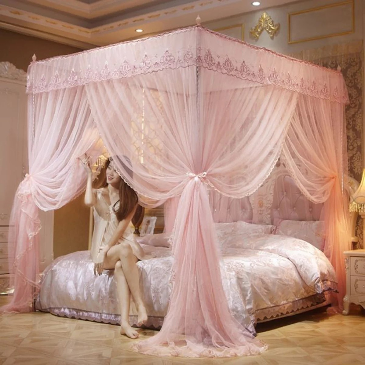 four corner canopy bed curtains princess style bed canopy bedroom decor for home hotel decor 6 6 6ft for full to large size bed