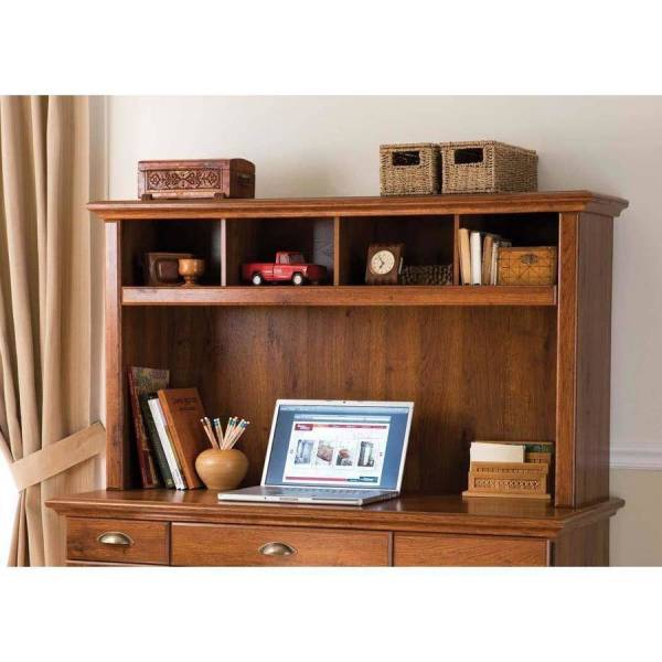 Orion Computer Desk With Hutch  Black and Oak   Walmart com