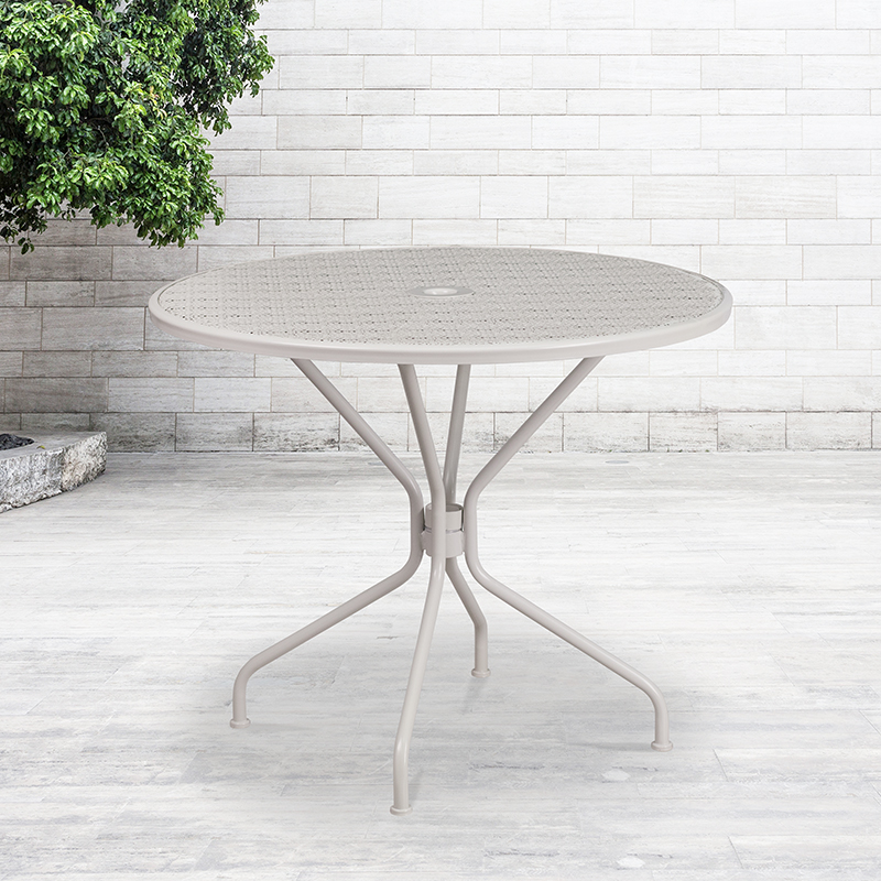 commercial grade 35 25 rd lt gy indoor outdoor steel patio table umbrella hole