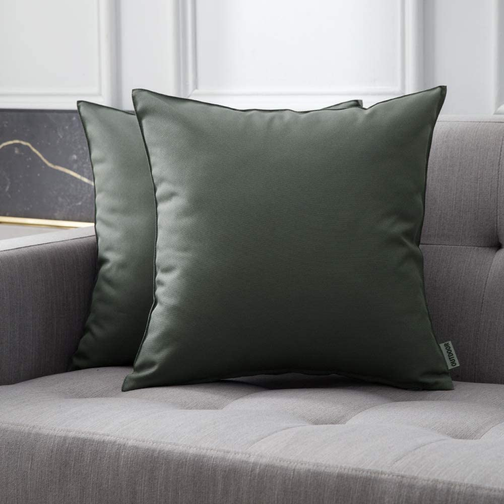 decorx pack of 2 decorative outdoor waterproof pillow covers square garden cushion sham throw pillowcase shell for patio tent couch 22x22 inch brown