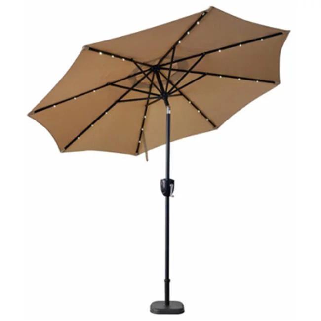 j j global 851042 patio umbrella bluetooth speaker lights solar powered taupe 9 ft