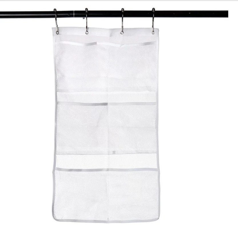mesh shower caddy organizer hanging bathroom shower curtain rod liner hooks accessories with 6 pockets save space in small bathroom tub 4 rings 6