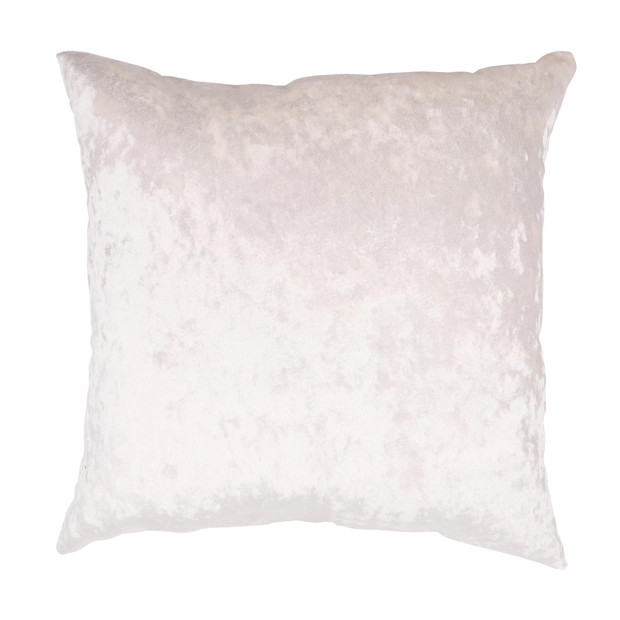 mainstays crushed velvet square decorative pillow 18 x 18 cream