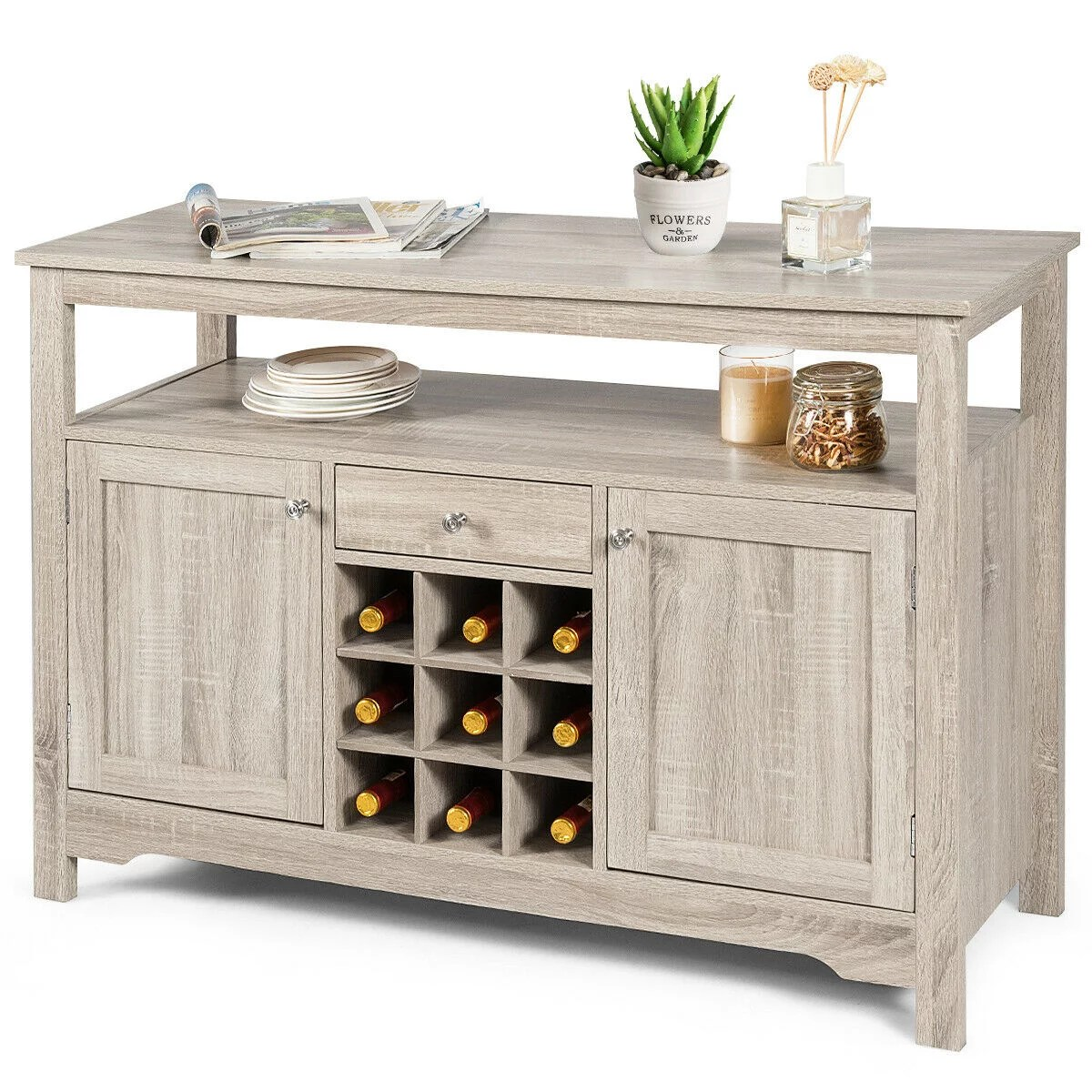 gymax buffet server sideboard wine cabinet console table grey home walmart com