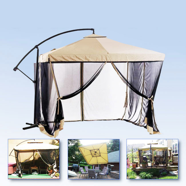 apontus offset tan patio umbrella instant gazebo with mesh netting