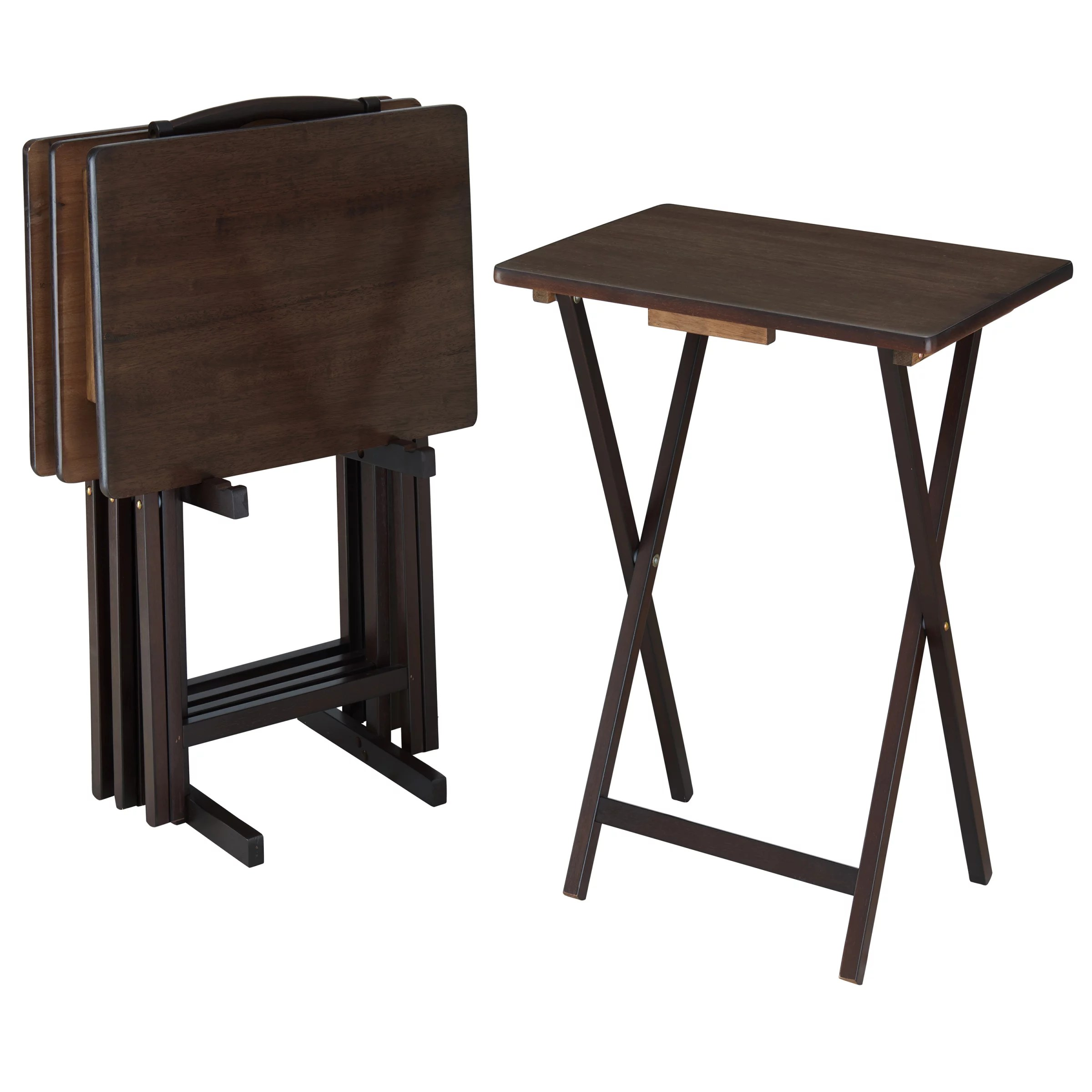 mainstays walnut 5 piece folding tv tray table set 4 trays 1 stand walmart com