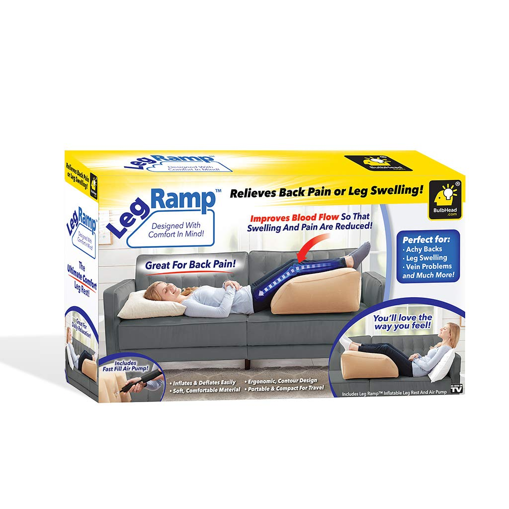bulbhead leg ramp inflatable wedge pillow leg pillow elevates legs and feet for temporary relief from leg swelling sore feet sciatica hip pain and