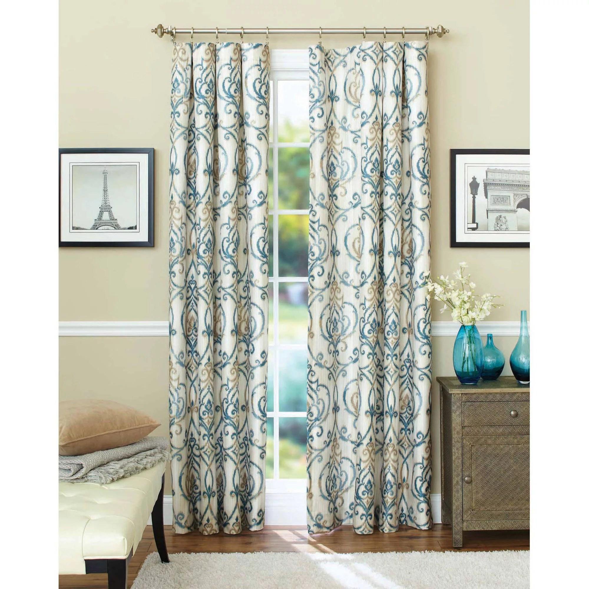 better homes gardens ikat scroll curtain panel walmart com