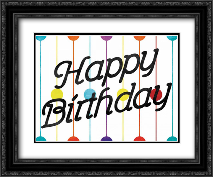 Happy Birthday Dots 2x Matted 24x20 Black Ornate Framed ...