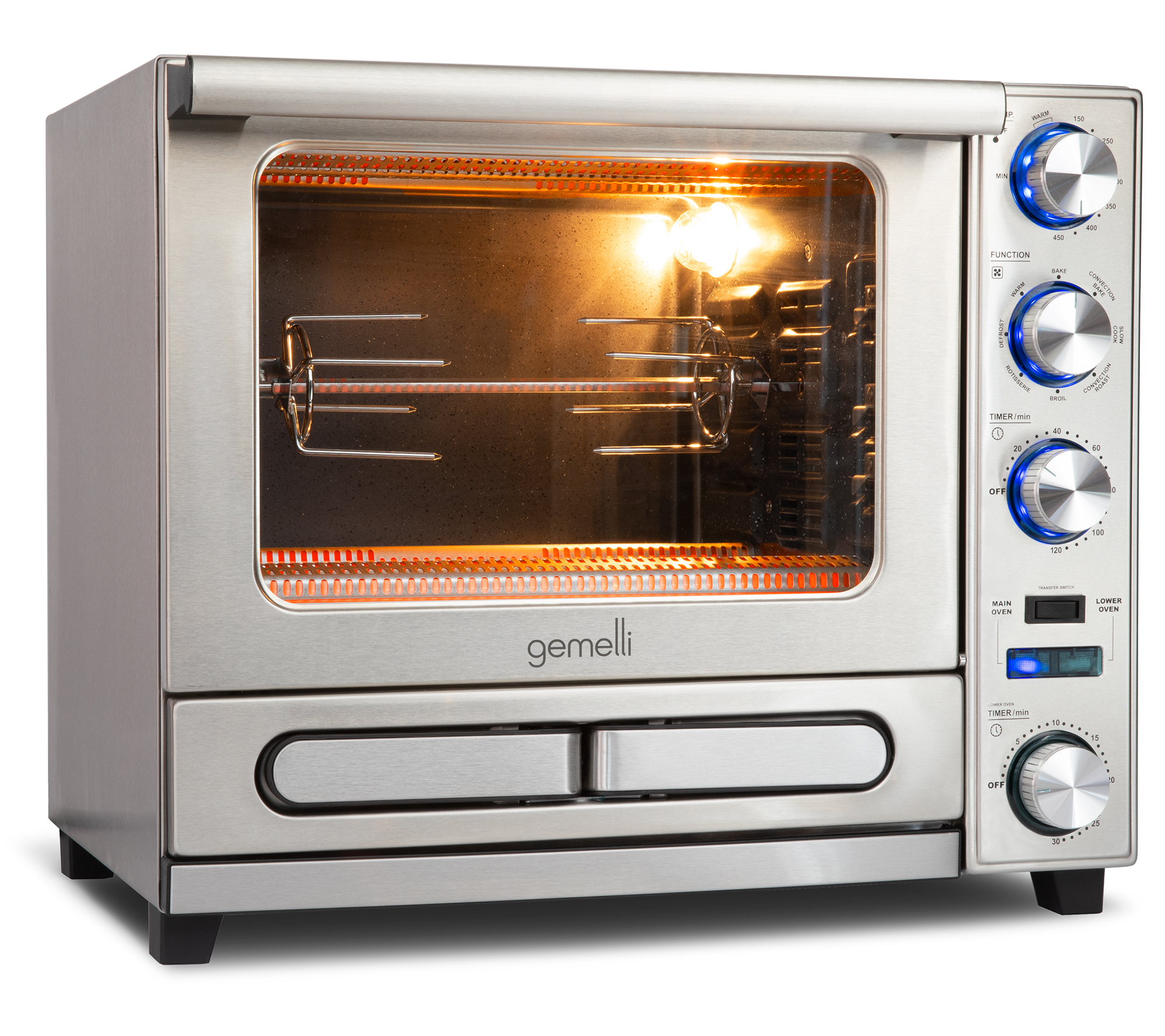 gemelli twin oven professional grade convection oven with built in rotisserie and convenience pizza drawer walmart com