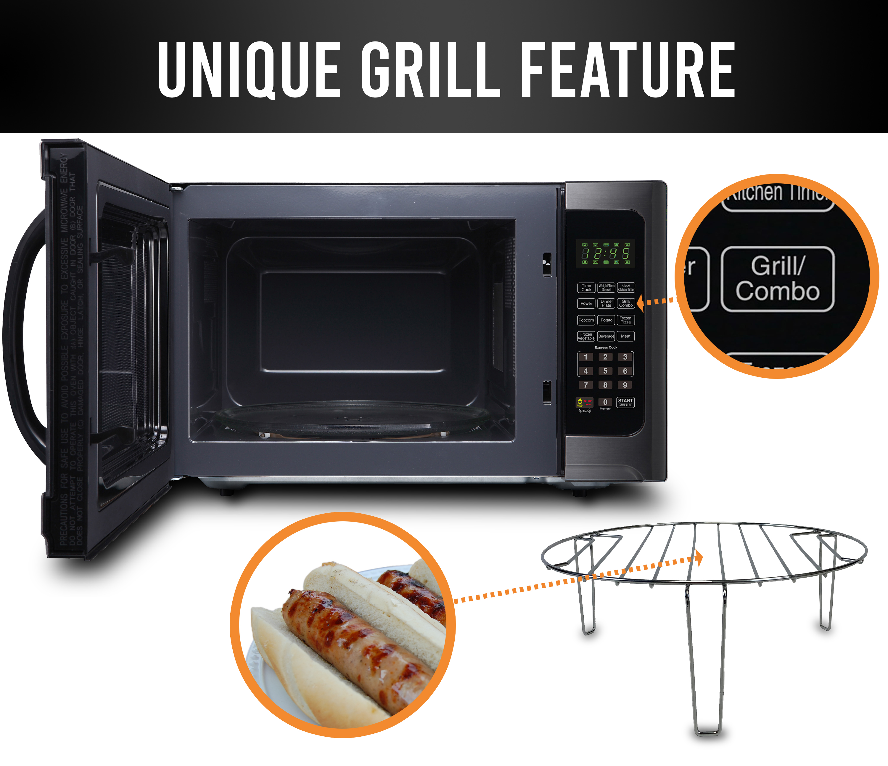 farberware black 1 2 cu ft 1100 watt microwave oven with grill black stainless steel fmo12ahtbsg