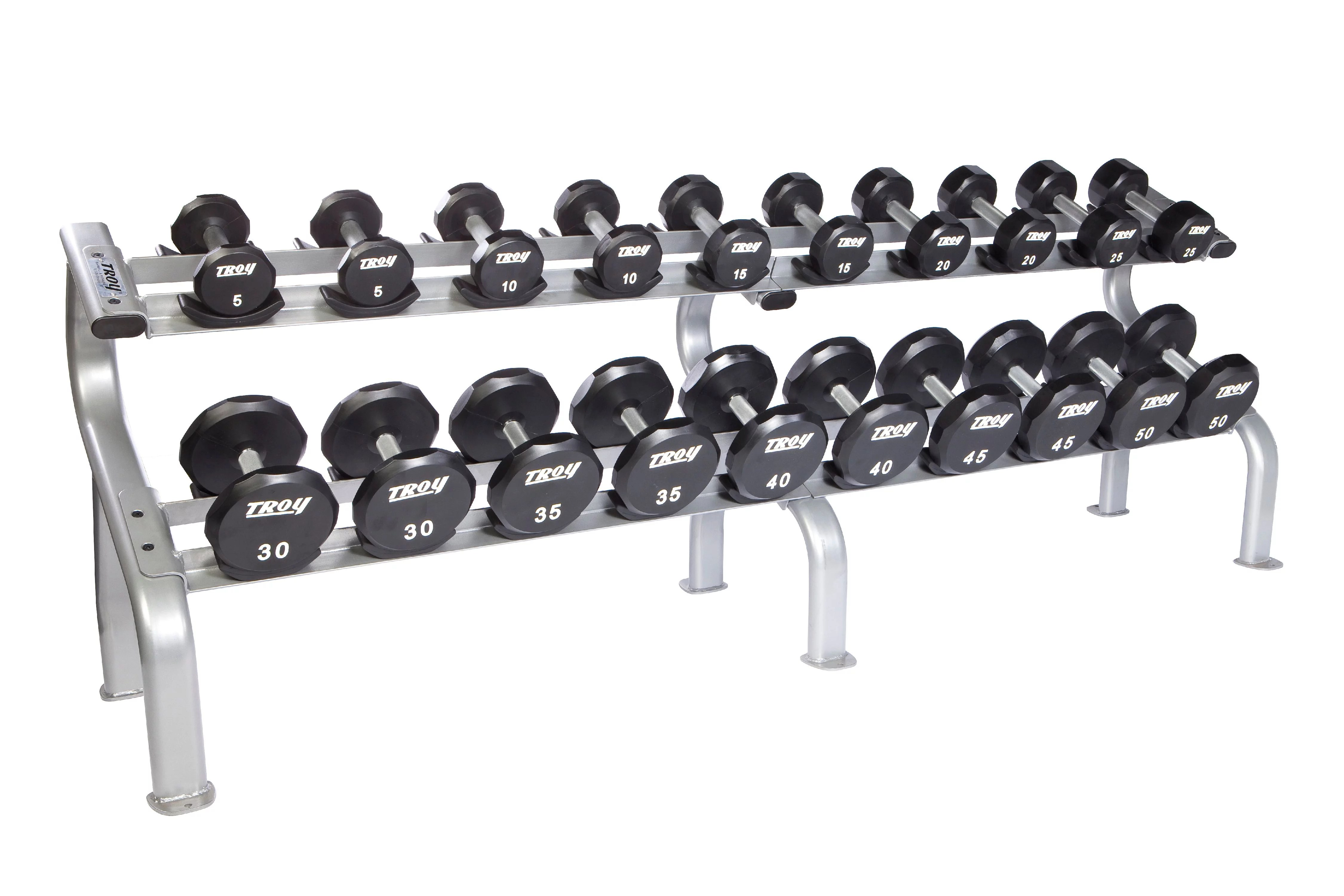 troy 5 50 lbs 10 pairs urethane dumbbell weight set w rack flat 12 sided head commercial gym quality by troy barbell walmart com