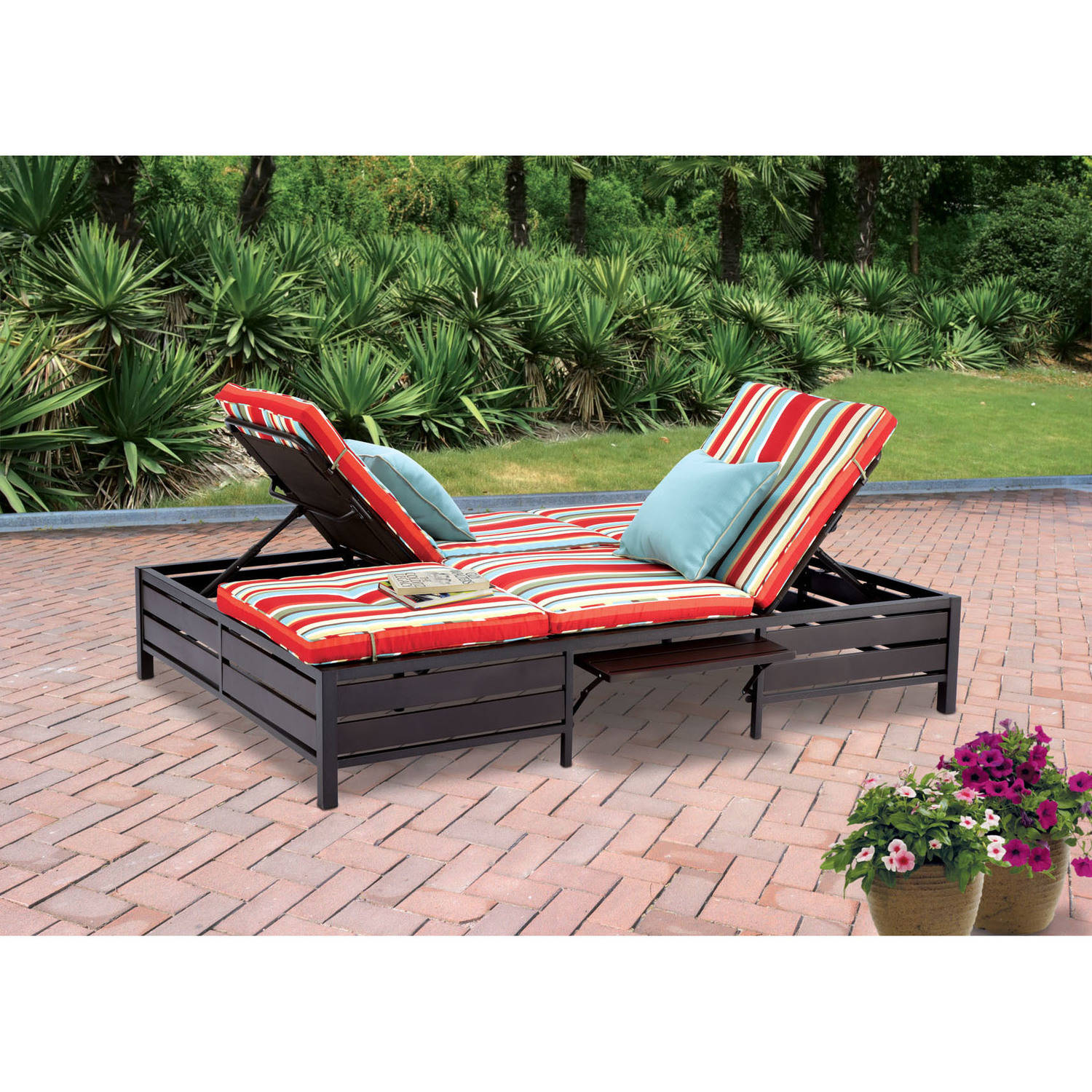 mainstays outdoor double chaise lounge bench multi color stripes seats 2 walmart com