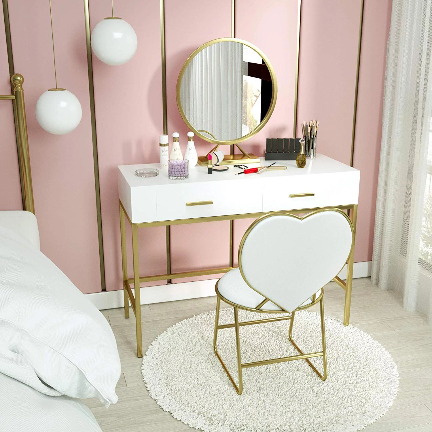 mecor vanity table set with mirror wood makeup vanity with gold metal legs heart shape cushioned stool girls women bedroom furniture set makeup table