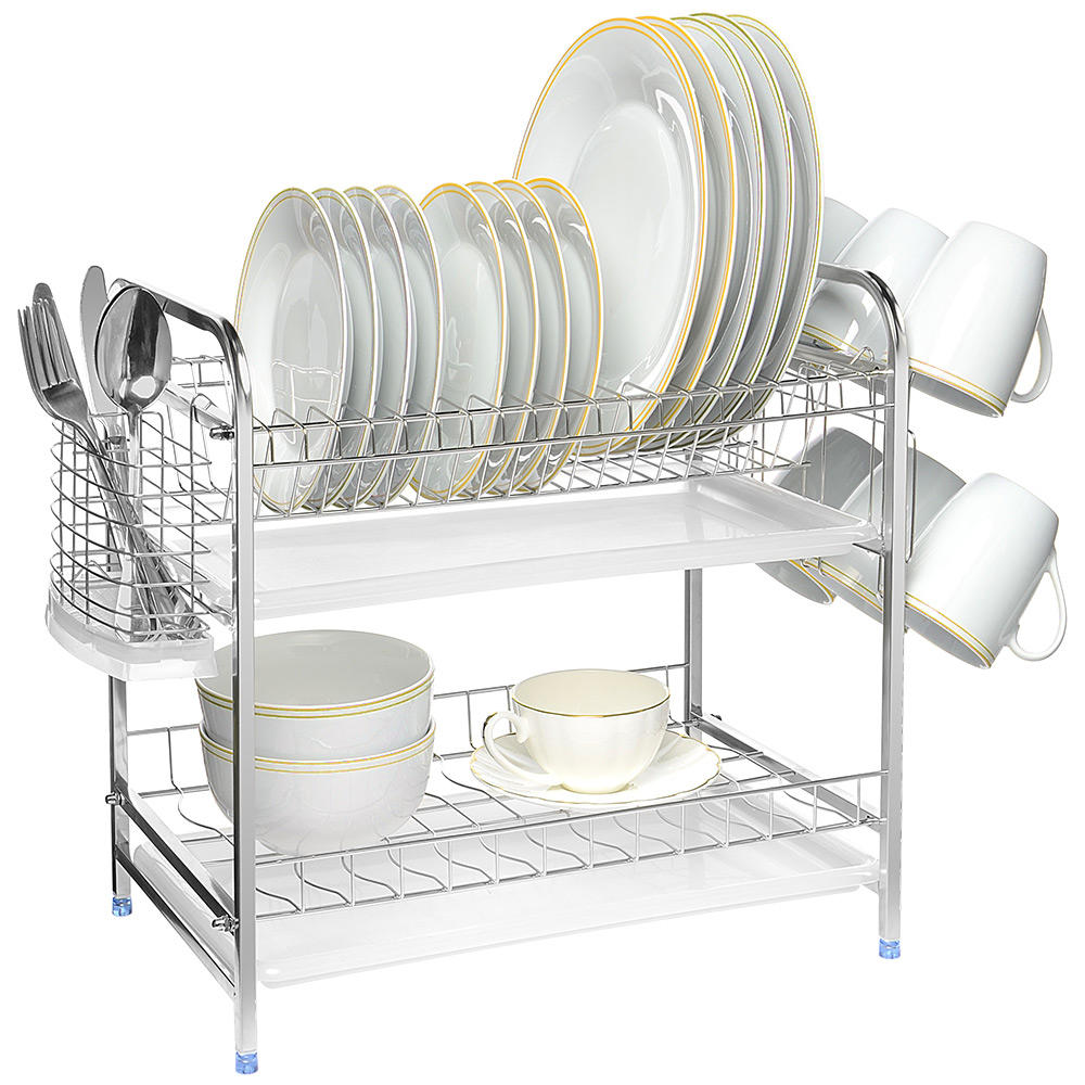 2 tier dish rack 16 inch stainless steel plate bowl drying rack cup holder with 2 drainboards