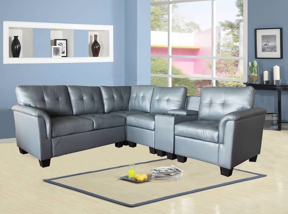 greatime s2304 gray vinyl sectional sofa