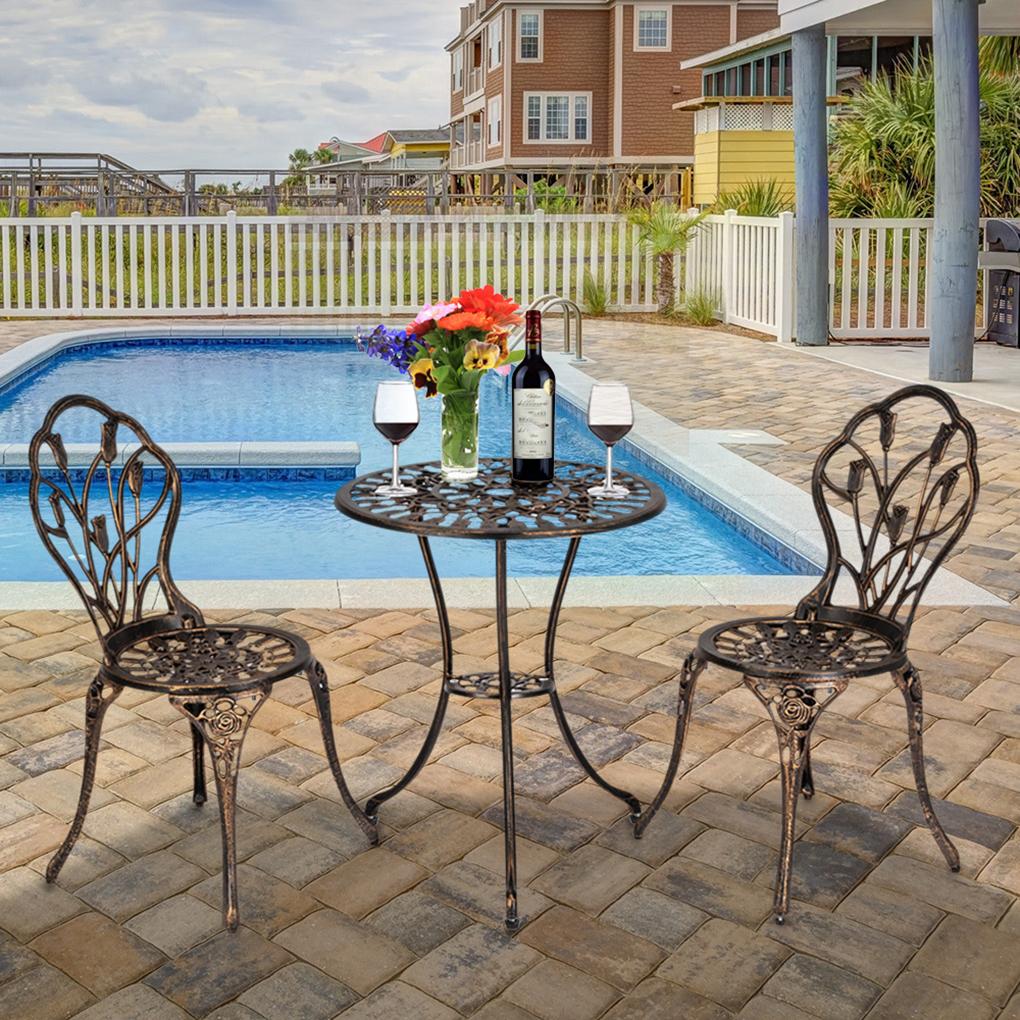 3pcs set european style outdoor bistro set aluminum garden balcony patio table chairs set walmart com