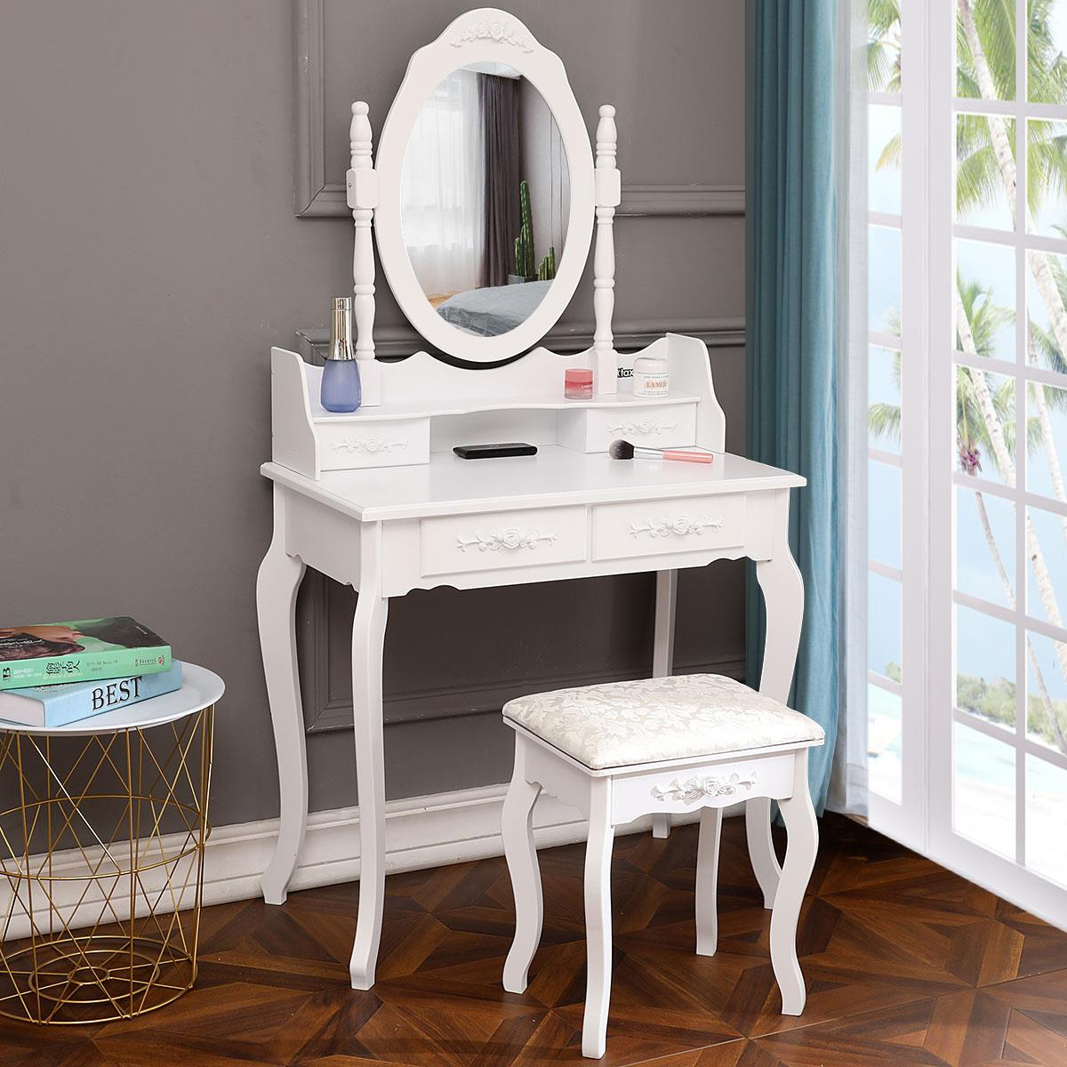 ktaxon elegance white dressing table vanity table and stool set wood makeup desk with 4 drawers mirror walmart com