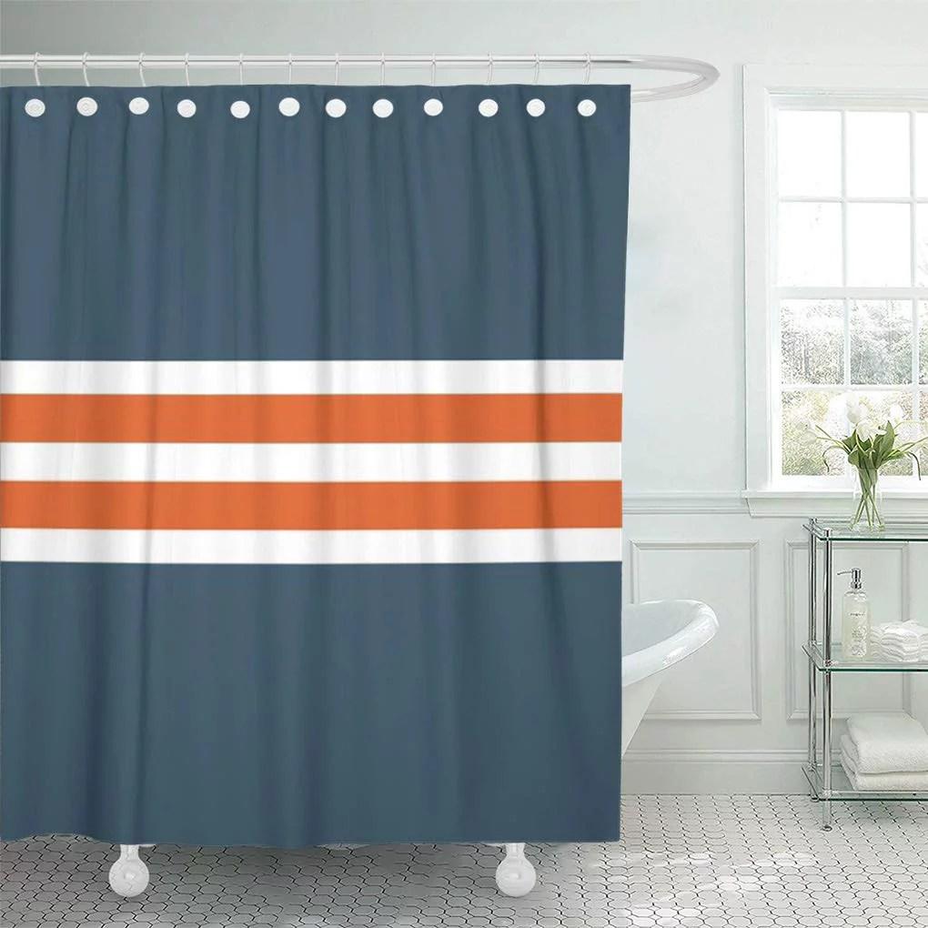 suttom modern blue orange white stripes grey shower curtain 66x72 inch walmart com