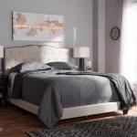 Baxton Studio Vivienne Modern And Contemporary Light Beige Fabric Upholstered Queen Size Bed Walmart Com Walmart Com