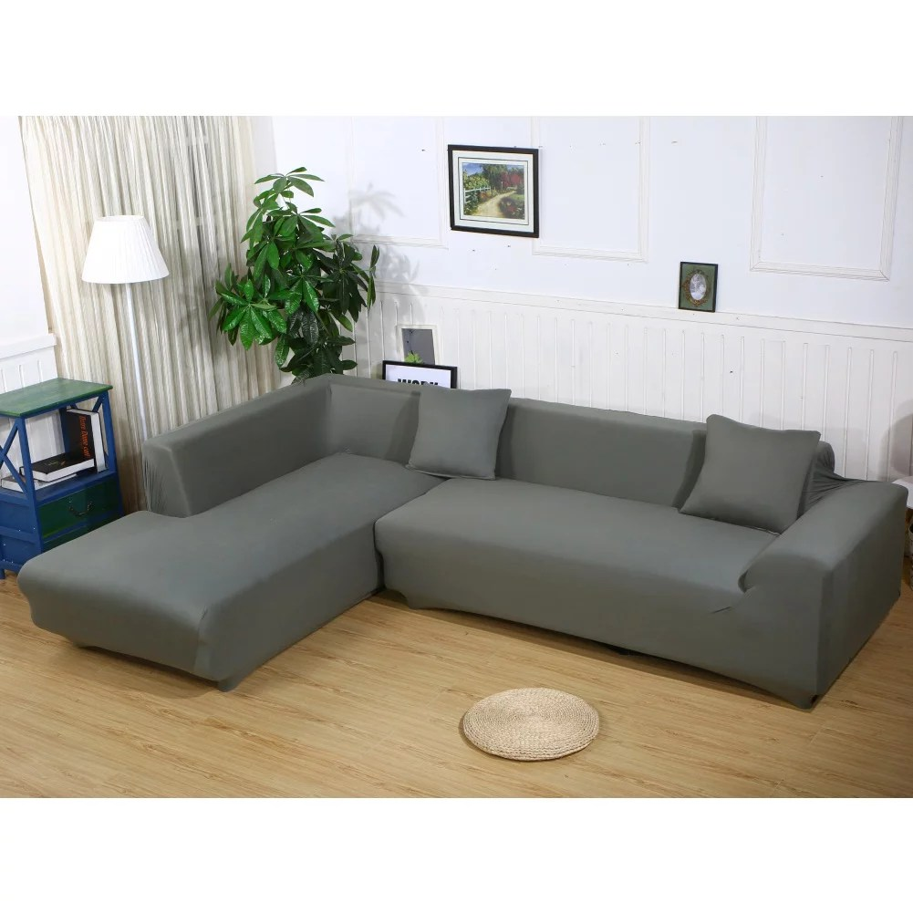 sofa covers for l shape 2pcs polyester fabric stretch slipcovers 3 seater 70 90 3 seater 70 90 2pcs pillow covers for sectional sofa