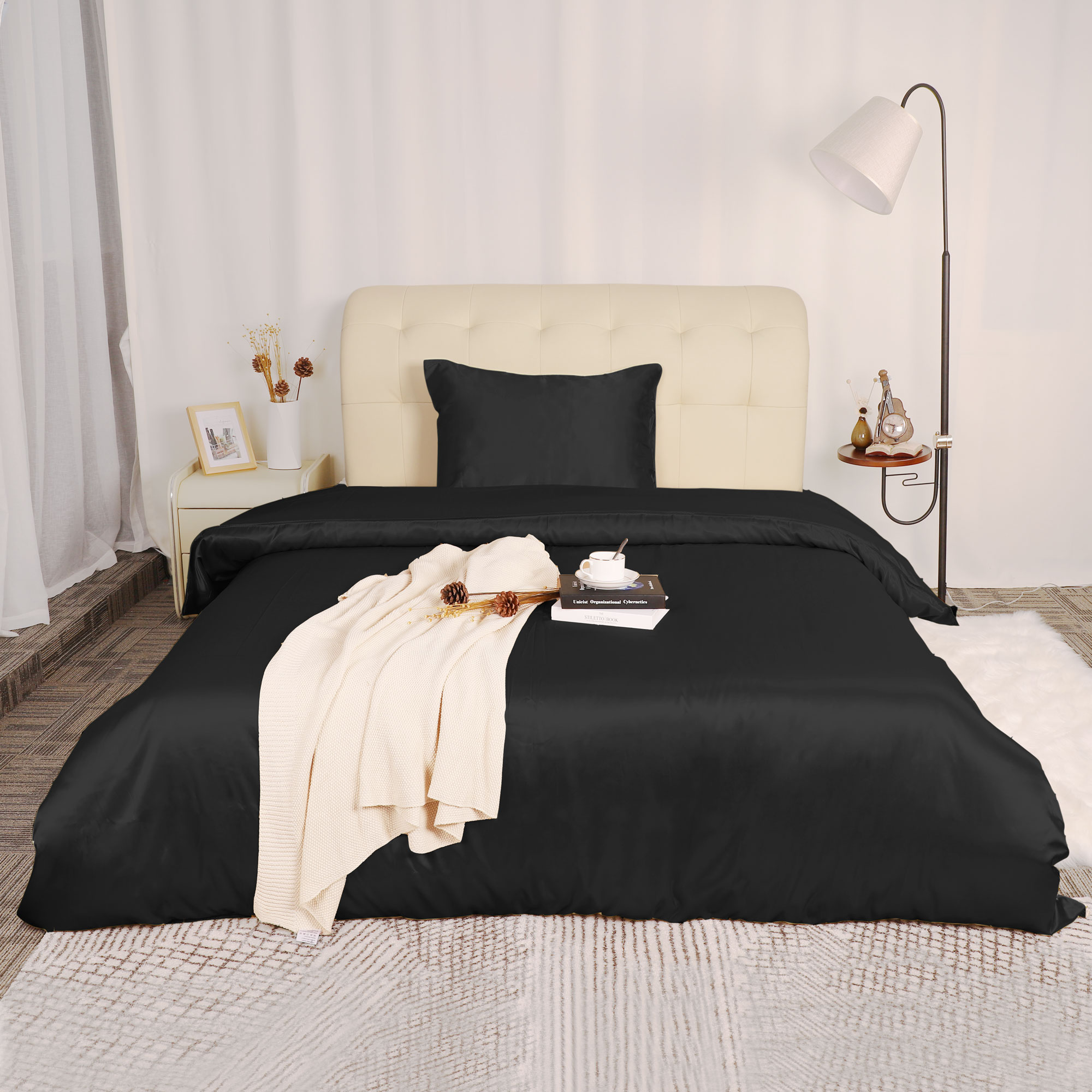 silk satin 2 piece bedding duvet cover and pillow sham set black twin size
